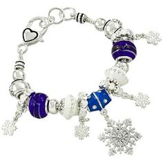 Snowflake Charm Bracelet Z17 Blue Murano Glass Beads Crystal. Snowflake Charm Slider Bracelet. Blue and White Murano Glass Beads Winter, Heart. 7 to 7.50 inch Long with Lobster Clasp. Boutique Quality Fashion Costume Jewelry. Fast and Free Shipping in the USA Shipped in a Gift Box.