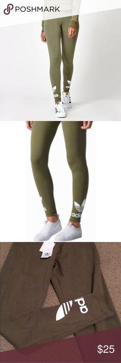 Olive green ADIDAS leggings Never worn, bundle 2 items and get 10% discount adidas Pants Leggings