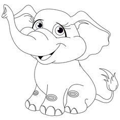 Coloriage bébé éléphanteau