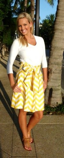50'S STYLE PALM BEACH CHIC SKIRT | YELLOW CHEVRON