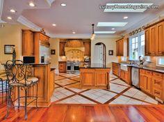 Love the design on the kitchen floor! Perfect kitchen!