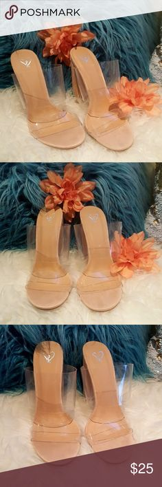 Clear PVC Mules with Nude Sueded Heel Really cute sueded mules with PVC upper. Windsor Shoes Mules & Clogs
