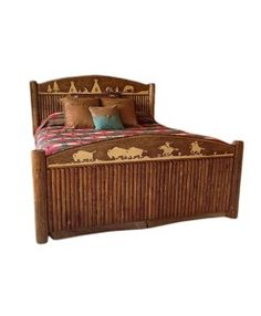 Rustic Cabin Bed! The Buffalo Hunt Molesworth Bed   Western Furniture and Decor from Rustic Artistry