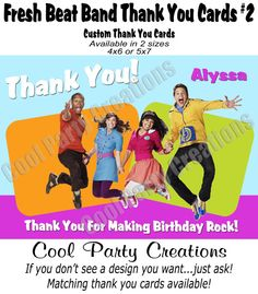 Fresh Beat Band Thank You  Printable Custom by CoolPartyCreations, $11.95