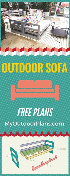 Free Outdoor Sofa Plans - Learn how to build a nice outdoor sofa to enjoy your time in the backyard! myoutdoorplans.com #diy #outdoor #bench