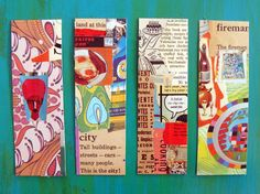 cut and paste bookmarks... fabulous way to use up scraps!  This would be a fun was to introduce a new book so they all have their own personalized bookmarks.