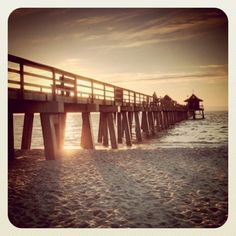 Naples Pier the most beautiful sunset I've ever seen was watched from this beach Naples Pier, Naples Florida, Beautiful Sunset, Most Beautiful, My Happy Place, Places Ive Been, Spaces, Eyes, Beach