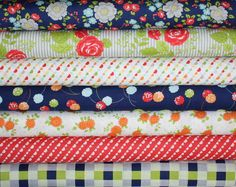 Happy Go Lucky Fabric bundle by Bonnie and Camille for Moda Fabrics- Fat Quarter Bundle- 7 total via Etsy