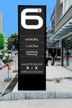 LED Stele, Leuchtpylone, Pylon, Leuchtkasten für Hotel 6 in Kreuzlingen Hotel 6, Cafe Bar, Aluminium, Signage, Safety Glass, Light Fixtures, Coffee Cozy, Billboard