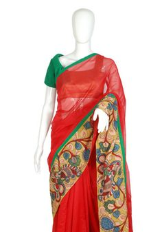 Red Chanderi Kalamkari Saree – Desically Ethnic