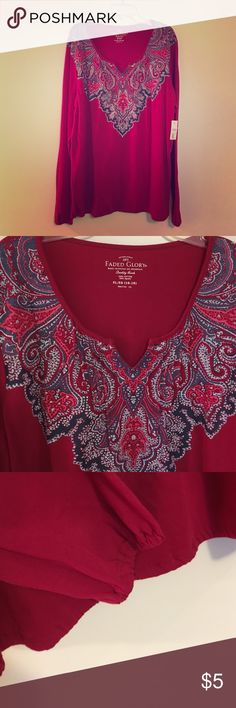 NWT Peasant Top NWT top with a paisley design at the top. Rouched wrists and bottom gives a nice bohemian feel to it. A generous XL. Fuchsia color Faded Glory Tops Tees - Long Sleeve