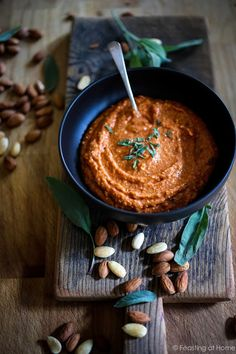 Feasting at Home: Romesco Sauce Recipe- made with roasted peppers, tomatoes, garlic and almonds...great on veggies or meat.