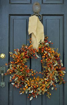 Autumn wreath and buttery burlap ribbon.