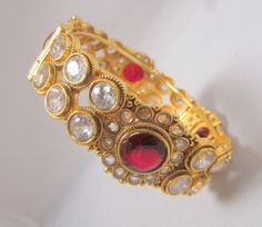 Red Kundan Kada by RumiCollections on Etsy