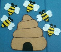 Five Little Bees Flannel Board Felt Board Story by FunFeltStories, $6.00