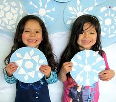 pattern block snowflakes on circles