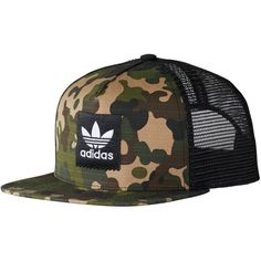 Adidas Camo Trucker Hat ($25) ❤ liked on Polyvore featuring accessories, hats, camouflage snapbacks, truck caps, camo hat, snapback hats and camo trucker cap