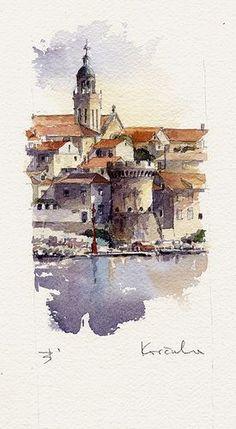 Korcula by Tony Belobrajdic was born in Rijeka, Croatia in Watercolor Art, Art Painting, Landscape Paintings, Watercolor City, Art Drawings, Painting, Watercolor Architecture, Art, Watercolor Landscape
