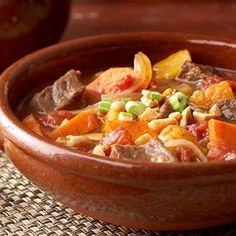 beef and sweet potato stew - Heart Healthy Living Cumin, cayenne, cinnamon, and dried fruits flavor this hearty beef stew. Make it in your slow cooker the next time you need a delicious dinner waiting at home for you. Crock Pot Recipes, Slow Cooker Recipes, Soup Recipes, Dinner Recipes, Cooking Recipes, Crock Pots, Potato Recipes, Vegetable Recipes, Free Recipes