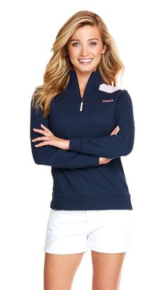 Always a favorite, pretty pink seersucker tops off this soft, cozy, and breathable Vineyard Vines Seersucker Shoulder Shep Shirt in Nautical Navy. - cotton-French terry - rib trim on cuff - S Preppy Outfits, Cool Outfits, Summer Outfits, Fashion Outfits, Fashion 2016, Preppy Girl, Preppy Style, My Style, Girl Style