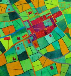 """""""Cathedral Town - Harvest Time"""" by Alicia Merrett. One of her map quilts, based on a 100-years old map of Wells, Somerset, where she lives."""