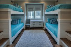 beach house bunk room with turquoise bedding