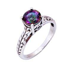 Natural Mystic Topaz Ring Wedding Engagement 925 Solid Sterling Silver Jewelry #Handmade #Filigiri #Wedding