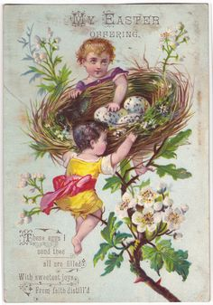 1880 Nested Easter Cherubs Holy Card ~ Wings of Whimsy *Click on photo for DIY Easter decor tutorial