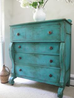 ANTIQUE Late 1800's Hand Painted Cottage Chic Shabby Aqua Romantic Turquoise / Teal Blue Empire Tall Dresser