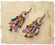 Boho Colorful Fun Earrings Playful Bohemian Dangle Earrings