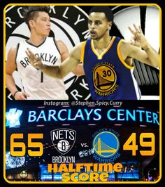 Halftime: Linsanity and Lopez are proving to be troublesome to Steph and the Dubs as they trail at the half 65-49. @stephencurry30 @jlin7 @warriors @brooklynnets @barclayscenter @csnauthentic @nba @957thegame #stephencurry #jeremylin #warriors #brooklynnets #barclayscenter #csnbayarea #nba #957thegame