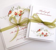 Beautiful Wedding Invitations with Orchids and Freesia flowers