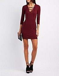 GreenRibbed Lace-Up Bodycon Dress