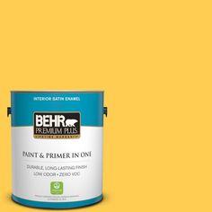 BEHR Premium Plus 1-gal. #330B-6 Lemon Sorbet Zero VOC Satin Enamel Interior Paint