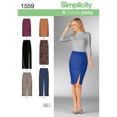Simplicity Sewing Pattern Misses' Slim Pants & Pencil Skirt Size 6 - 22 1559 & Garden Skirt Patterns Sewing, Simplicity Sewing Patterns, Clothing Patterns, Slim Pants, Jumpsuits For Women, Dress Skirt, Dresses For Work, Fashion Design, Diy Fashion