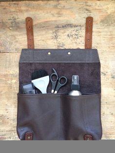 Barber, Hairdressers, Makeup Artists  dark brown Leather Pouch, Wallet, Case.