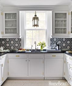 White and black and gold kitchen