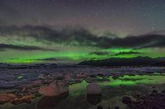 The Northern Lights, over the Jokulsarlon Lagoon, Iceland