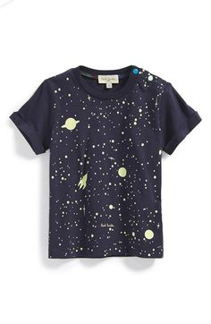 Free shipping and returns on Paul Smith Junior 'Galaxy' Glow-in-the-Dark Cotton T-shirt (Baby Boys) at Nordstrom.com. He'll look out of this world in this cotton T-shirt featuring astronomically cool glow-in-the-dark graphics. Colorful, contrasting snap buttons—a hallmark of the Paul Smith label—detail the shoulder for a signature finish.