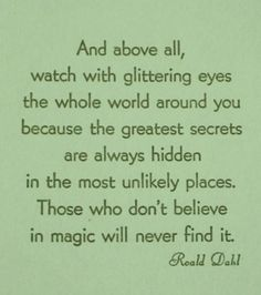 roald dahl inspiration quote motivation life advice believe in magic glittering eyes childrens author writer