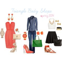 """""""Triangle Body Shape Spring 2014"""" by lorraine-andrade-marques on Polyvore"""