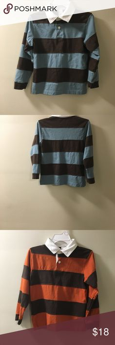Boys Gymboree Long sleeves Striped Polo Shirts. Two NWOT Gymboree Long sleeves size 7 boys Shirts 100% Cotton.   White collar, Brown & Blue, and White collar Brown & Orange. Gymboree Shirts & Tops Polos