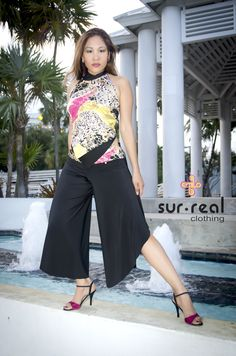 Wide-Leg Tango pants with Double Layer Reversible Top by Sur-Real Designs