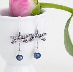 Silver Dragonfly Earrings  by JacarandaDesigns, $25.00