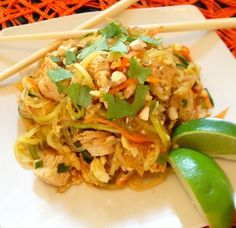 Authentic Pad Thai Recipe - Healthy version. Made w Kelp noodles & zucchinis, julienned or spiral cut with a vegetable slicer.