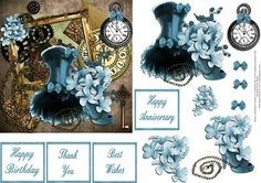 Feminine Steampunk With Decoupage on Craftsuprint designed by Frances Dent - This steampunk design with feminine embellishments comes with one base layer, eight step by step pieces and four assorted sentiments. Thank you for looking at my design. Please take a moment to look at my other designs by clicking on my name. Enjoy. - Now available for download!