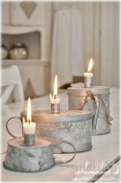 Old Zinc cups Home Candles, Candle Lanterns, Taper Candles, Chandeliers, Shabby Chic Stil, Candle In The Wind, Galvanized Metal, Galvanized Decor, Light My Fire