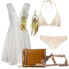Il bagno di mezzanotte  outfit donna Boho Folk Etnico per party discoteca e  mare. Abito bianco asimmetrico 94a9760831f
