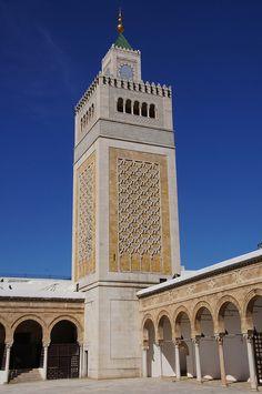 The 19th century minaret of the 7th-8th century Zaytouna Mosque in  Tunis, Tunisia.