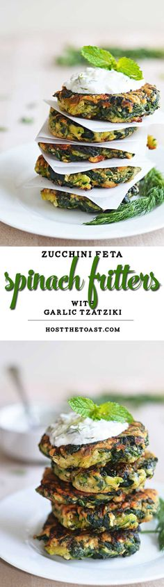Zucchini, Feta, and Spinach Fritters with Garlic Tzatziki... in case your CSA box is overflowing with zucchini!